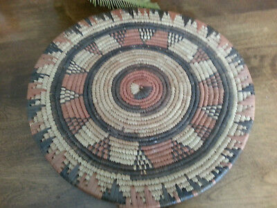 """Vtg * AFRICAN* Natural Grass * Hand Woven Coil Tray Plate * 12 1/2"""""""