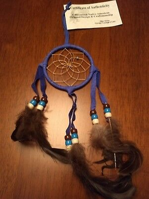 "Authentic Native American Navajo Buckskin  Dream Catcher 3"" By Mae Stone#Royal24"