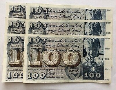 Lot of 6, 100 Swiss Franc Banknotes Suisse Franc 5th Series
