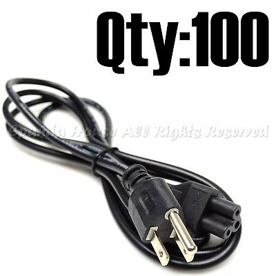 100Pc Super Combo 6Ft Computer Electronics Ac Power Supply Cord Wire 3-Prong Usa