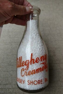 TRPQ ALLEGHENY CREAMERY JERSEY SHORE PA milk dairy bottle. Williamsport.