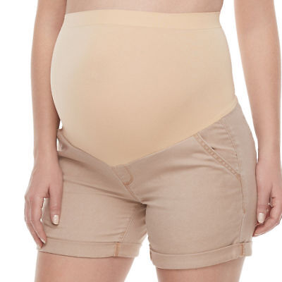 A Glow Women's Maternity Full Panel Cuffed Casual Short Shorts Khaki Size 10