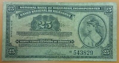 1938 NICARAGUA 25 Centavos Banknote World Currency Old Paper Money