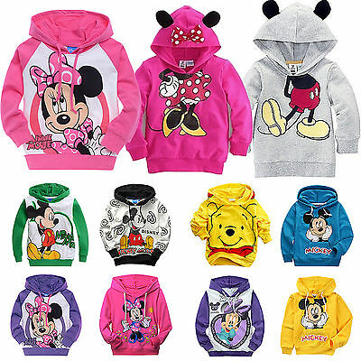 Kids Mickey Mouse Sweater Hoodies Sweatshirt Girls Boys Jumper Pullover Top Coat