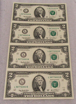 2003 A Series Sheet of 4 $2 Federal Reserve Notes in Uncut CU Sheet & Display