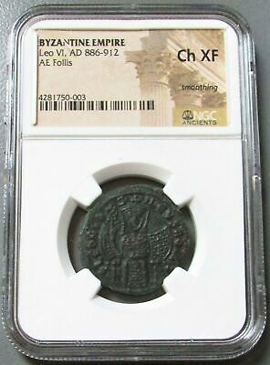 886 - 912 Ad Byzantine Empire Ae Follis Leo Vi The Wise Coin Ngc Choice Xf