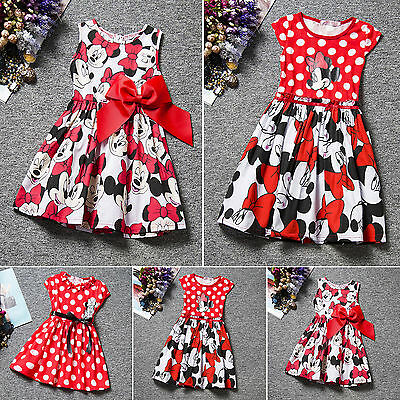 Kids Baby Girls Dresses Cartoon Minnie Mouse Bowknot Princess Dress Party Age2-7
