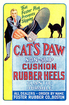 1914 Foster Rubber Co, Boston, Massachusetts Cat's Paw Shoe Heels Color Ad