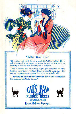 1914 Foster Rubber Co, Boston, Massachusetts Cat's Paw Shoe Heels Lady Color Ad