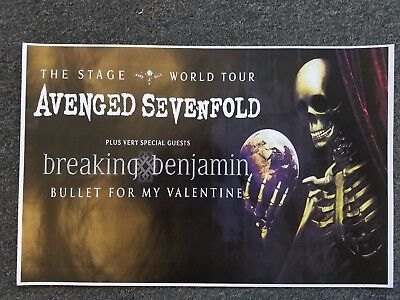 Avenged Sevenfold 11x17 promo concert tour poster Breaking Benjamin shirt ticket