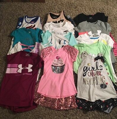 Huge Lot Girls Size 7/8 Spring & Summer Clothes - Under Armour, Justice & More