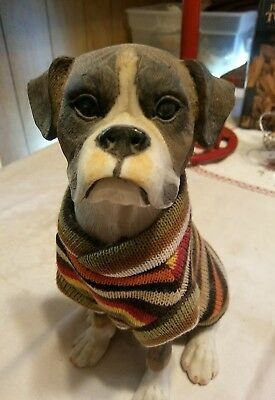 "8"" Sitting Boxer Dog Figurine Wearing Sweater"