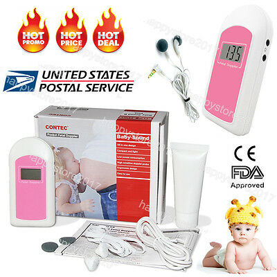 NEW US 3-6days LCD Pocket Fetal Doppler,Baby Heart Beat Monitor Baby sound B