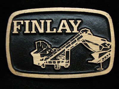 PA03115 *NOS* VINTAGE 1970s **FINLAY** MINING EQUIPMENT SOLID BRASS BELT BUCKLE