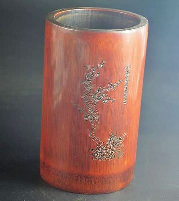 Chinese Exquisite Hand-carved plum bloss & Poetry pattern bamboo Pen holder N541