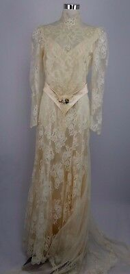 Susan Lane's Country Elegance VTG Peach Victorian Wedding Dress Lace Satin Train