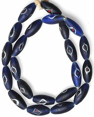 "24"" Strand Large Cobalt Blue Eye Beads from the African Trade"