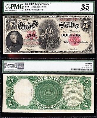 "AWESOME Crisp Choice VF++ $5 1907 ""WOODCHOPPER"" Note PMG 35! FREE SHIP K69363594"