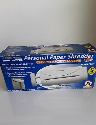 Design Concepts Personal Paper Shredder Model FS-200 5- Sheet Capacity Hm/Office