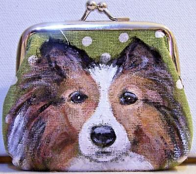 hand painted Shetland Sheep dog Sheltie on canvas kiss lock coin purse gift