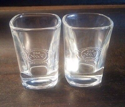 Pair Old No 7 Brand Shot Glass Square Clear With Raised Glass Logo Jack Daniels
