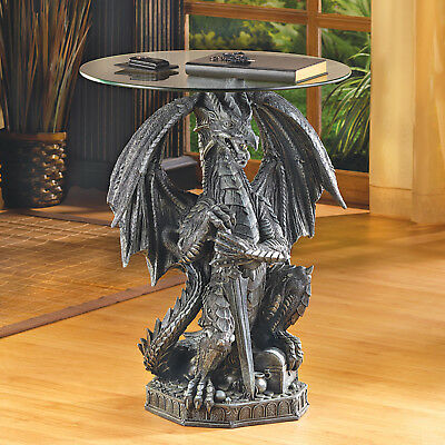 ACCENT TABLES: Dragon with Sword Medieval End Table NEW