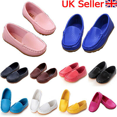 Kids Boys Girls Toddler Slip On PU Leather Flat Loafers Casual Soft Boat Shoes