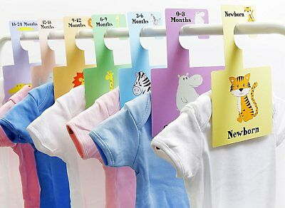 Baby Closet Dividers - Safari Animals | Baby Clothes Organizers | Pack of 7 S
