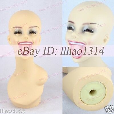Laughing Mannequins Head Big Mouth Hair Model Heads Female Plastic Half Bust NEW