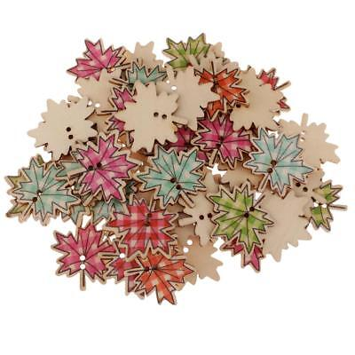 50pcs Maple Leaf Wooden Buttons Embellishment for Scrapbooking Cardmaking