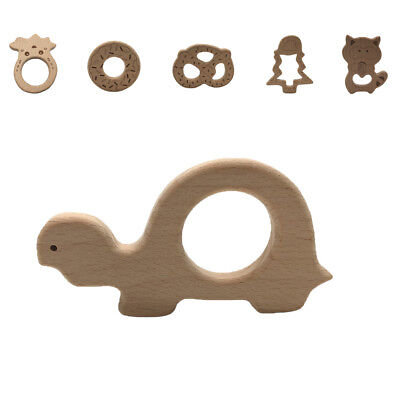 Handmade Wooden Natural Baby Teething Ring Chewie Teether Wood Sensory Toy Gift