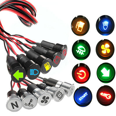 Pre-wired 12mm LED Dash Panel Warning Indicator Pilot Light Lamp Car Boat 12/24V