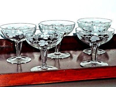 Fabulous Art Deco Crystal Etched Hollow Stem Champagne Glasses Bohemia C 1930's