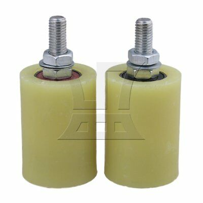 5x7cm PP Steel Bearing Guiding Wheel M12 Set of 2 Yellow Silver