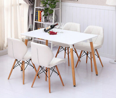 Dining Table And Chairs Rectangular Retro Eiffel Wooden Legs White Room