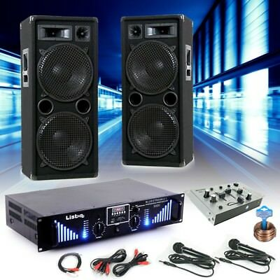 3000W PA Party Musik Anlage Boxen Bluetooth MP3 USB SD Endstufe Mixer DJ-Blue 2