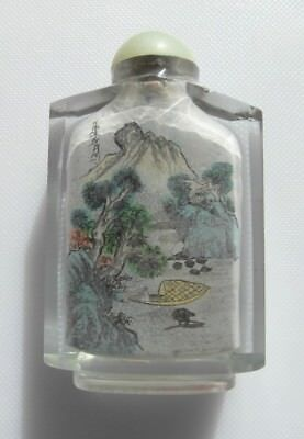 Chinese Scene Glass Snuff Bottle Round Jade Lid And Attached Spoon - 1920-40