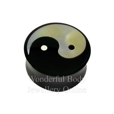 Sold as a Pair Buffalo Horn Solid Plug with Mother of Pearl Inlay