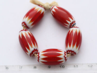 5 alte, rote Chevron Glasperlen 13 x 22 mm Trade Beads Ghana West-Afrika