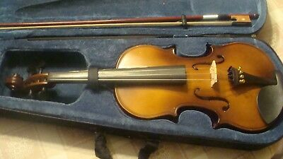 Older Mendini 4/4 Adult Size nice highlights, Antique tail piece