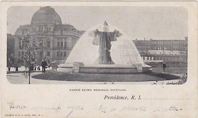 Rhode Island Early 1900s BW Photo UDB Postcard- View of Carrie M Brown Memorial Fountain Providence County R.I ~ Free Ship Providence