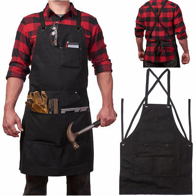 Heavy Duty Waxed Canvas Work Hobby Apron Large Pocket Tool Pockets Durable