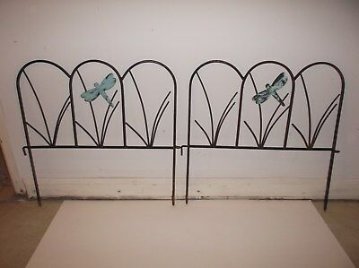 Antique Vintage Wrought Iron (?) Dragonfly Trellises Lawn Edging Lot Of 2
