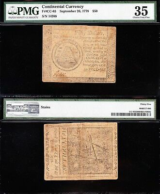 Nice SCARCE Choice VF++ CC85 Sept 26, 1778 $50 Continental Colonial Note! PMG 35