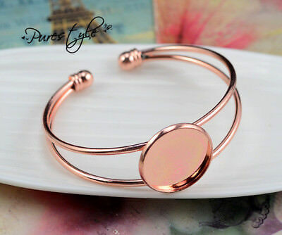 Rose Gold Plated Wire Bangle | 20mm or 25mm Cabochon Setting