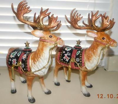 Fitz & Floyd Christmas Lodge Deer Taper Candle Holders - Nib