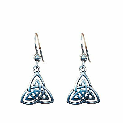 Pair of Silver Celtic Trinity Triquetra Knot Dangly Earrings - Hand-Forged from