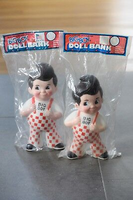 set of 2 sealed Rubber/Plastic Bob's Big Boy Promotional banks -1985