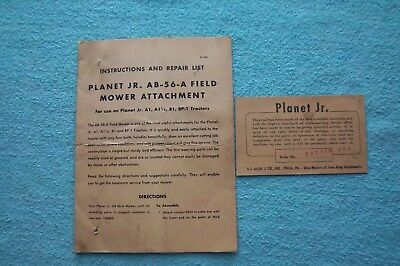 Vintage Planet Jr. Ab-56-A Field Mower Instructions And Repair List