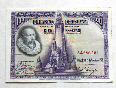100 Pesetas, Bank of Spain, 1928.